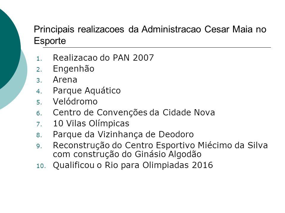 Principais realizacoes da Administracao Cesar Maia no Esporte