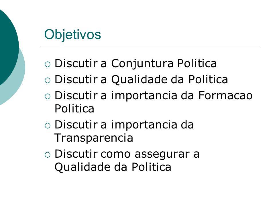 Objetivos Discutir a Conjuntura Politica