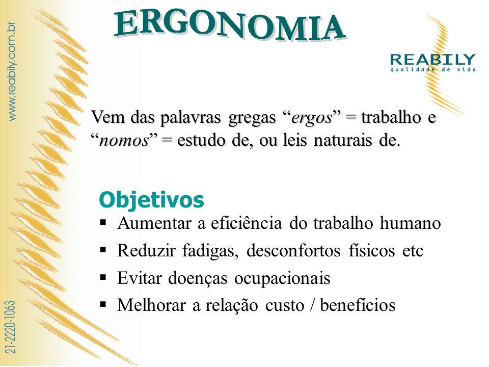 ERGONOMIA Vem das palavras gregas ergos = trabalho e nomos = estudo de, ou leis naturais de. Objetivos.