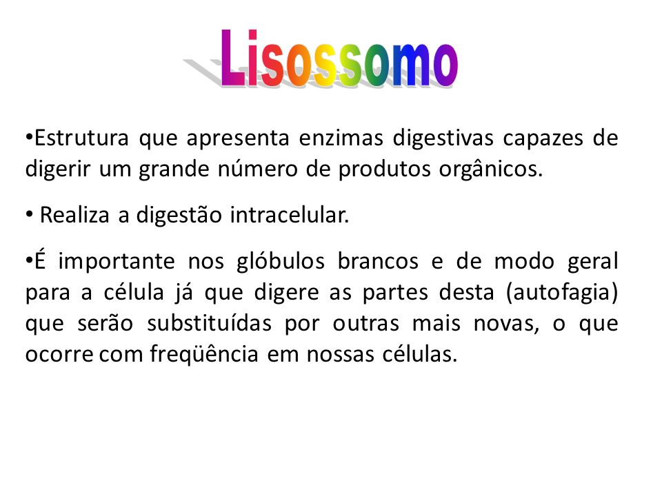 LisossomoEstrutura que apresenta enzimas digestivas capazes de digerir um grande número de produtos orgânicos.