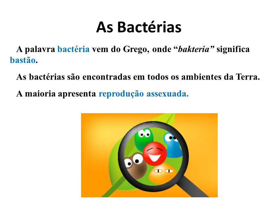 As BactériasA palavra bactéria vem do Grego, onde bakteria significa bastão. As bactérias são encontradas em todos os ambientes da Terra.