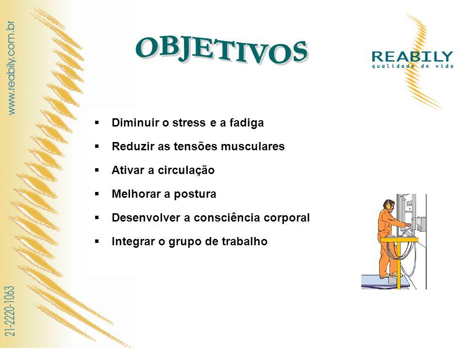OBJETIVOS Diminuir o stress e a fadiga Reduzir as tensões musculares
