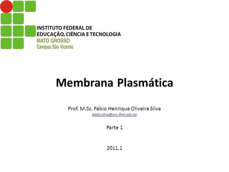 Membrana Plasmática Prof. M. Sc. Fábio Henrique Oliveira Silva fabio