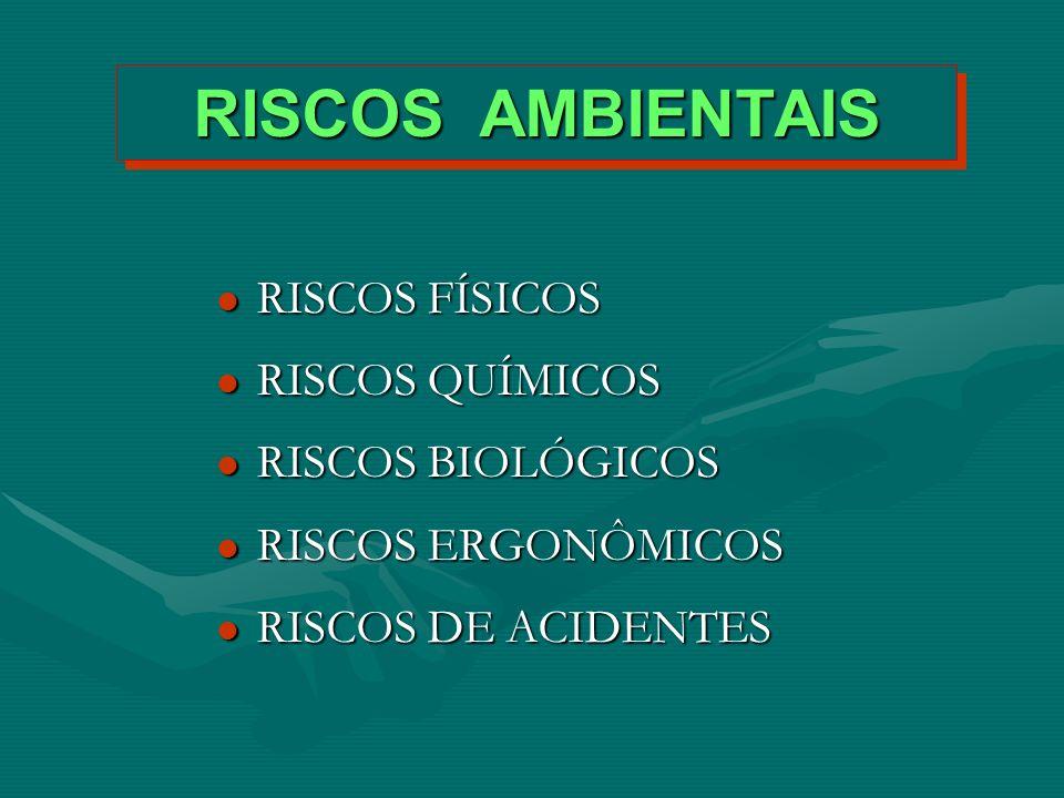 RISCOS AMBIENTAIS RISCOS FÍSICOS RISCOS QUÍMICOS RISCOS BIOLÓGICOS