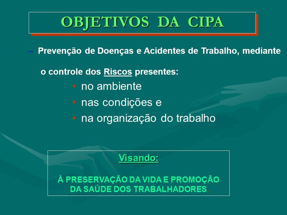 À PRESERVAÇÃO DA VIDA E PROMOÇÃO DA SAÚDE DOS TRABALHADORES.