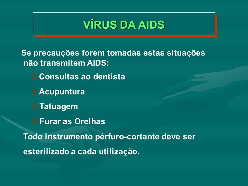 VÍRUS DA AIDS Se precauções forem tomadas estas situações