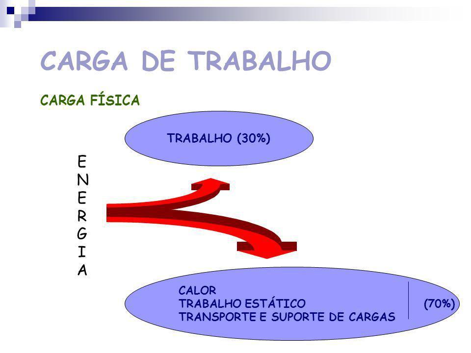 CARGA DE TRABALHO ENERGIA CARGA FÍSICA TRABALHO (30%) CALOR