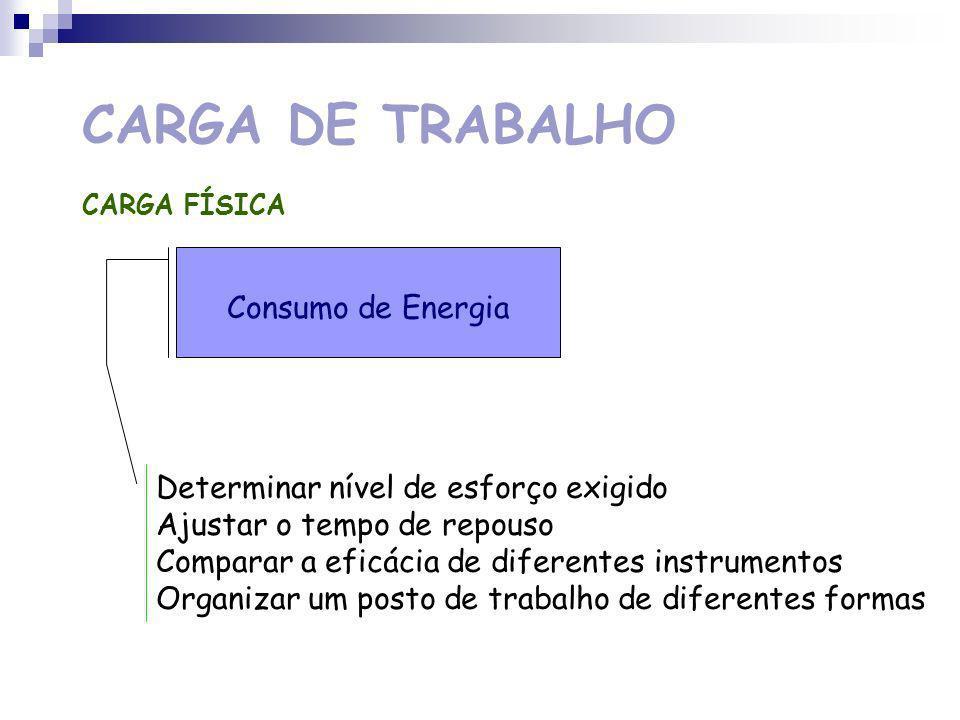 CARGA DE TRABALHO Consumo de Energia