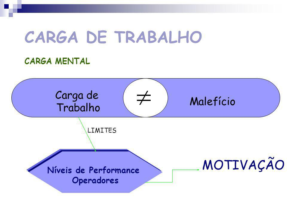 MOTIVAÇÃO CARGA DE TRABALHO Carga de Malefício Trabalho