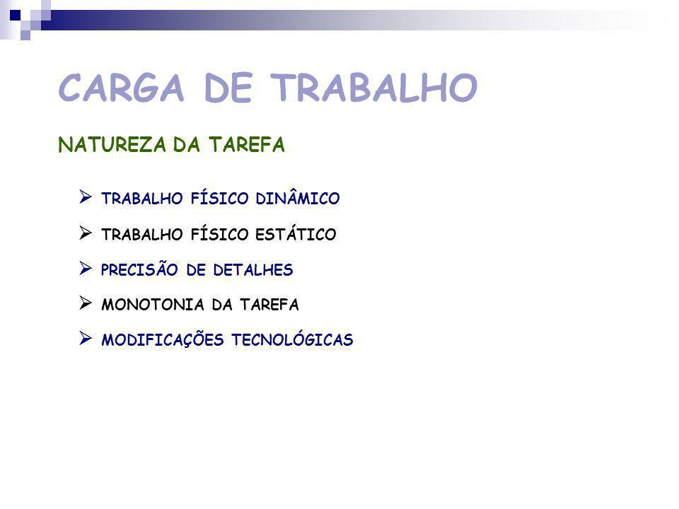 CARGA DE TRABALHO NATUREZA DA TAREFA  TRABALHO FÍSICO DINÂMICO