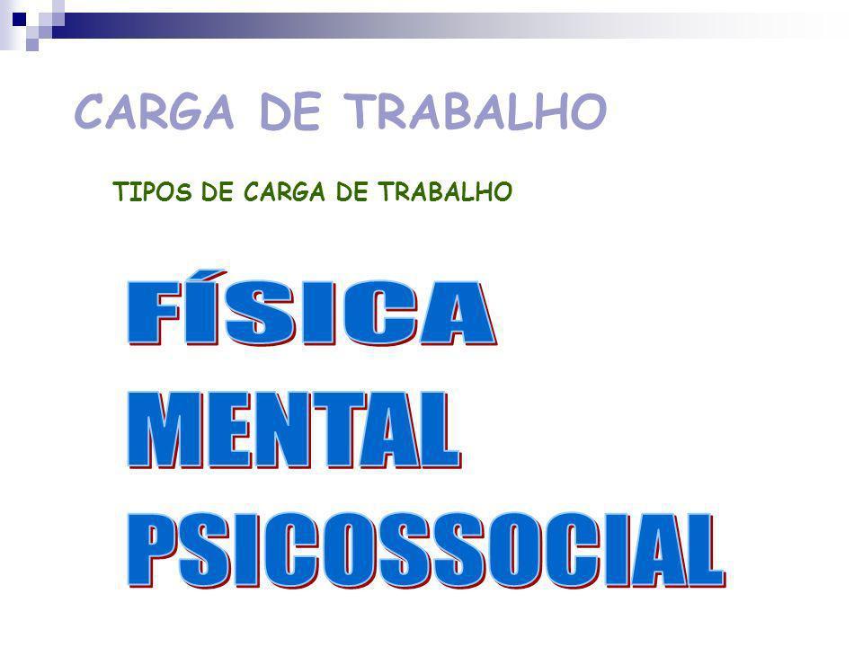 CARGA DE TRABALHO FÍSICA MENTAL PSICOSSOCIAL
