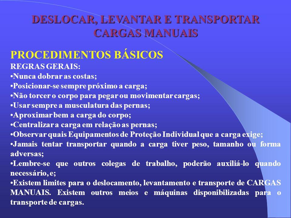 DESLOCAR, LEVANTAR E TRANSPORTAR CARGAS MANUAIS