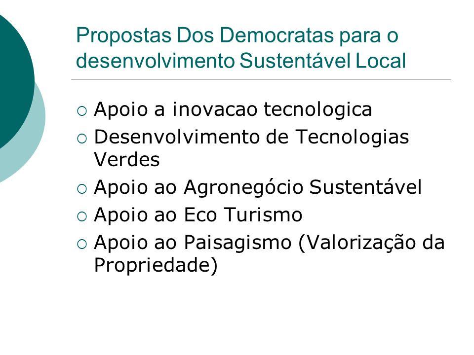 Propostas Dos Democratas para o desenvolvimento Sustentável Local