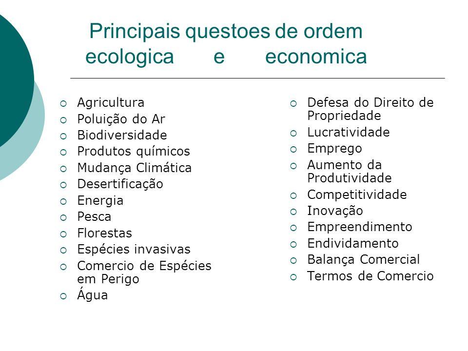 Principais questoes de ordem ecologica e economica