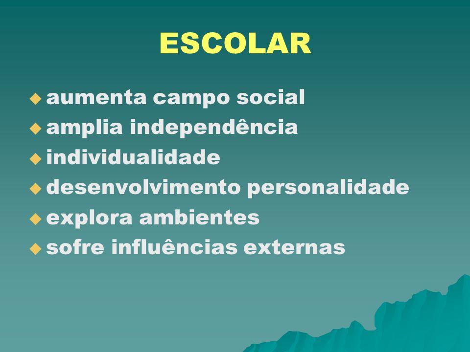 ESCOLAR aumenta campo social amplia independência individualidade