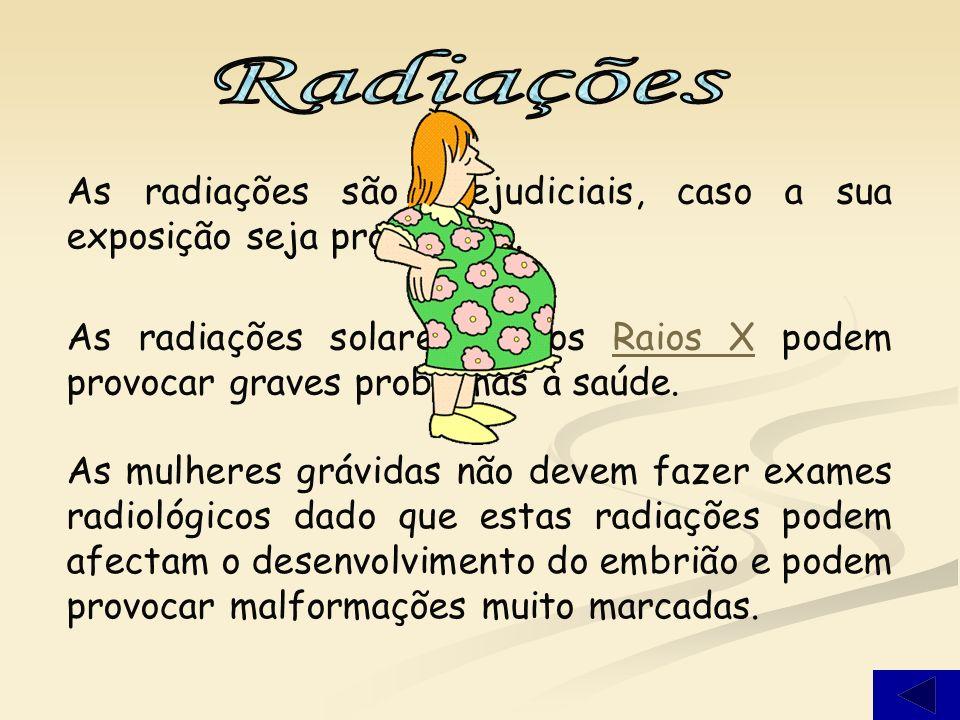 Radiações As radiações são prejudiciais, caso a sua exposição seja prolongada.