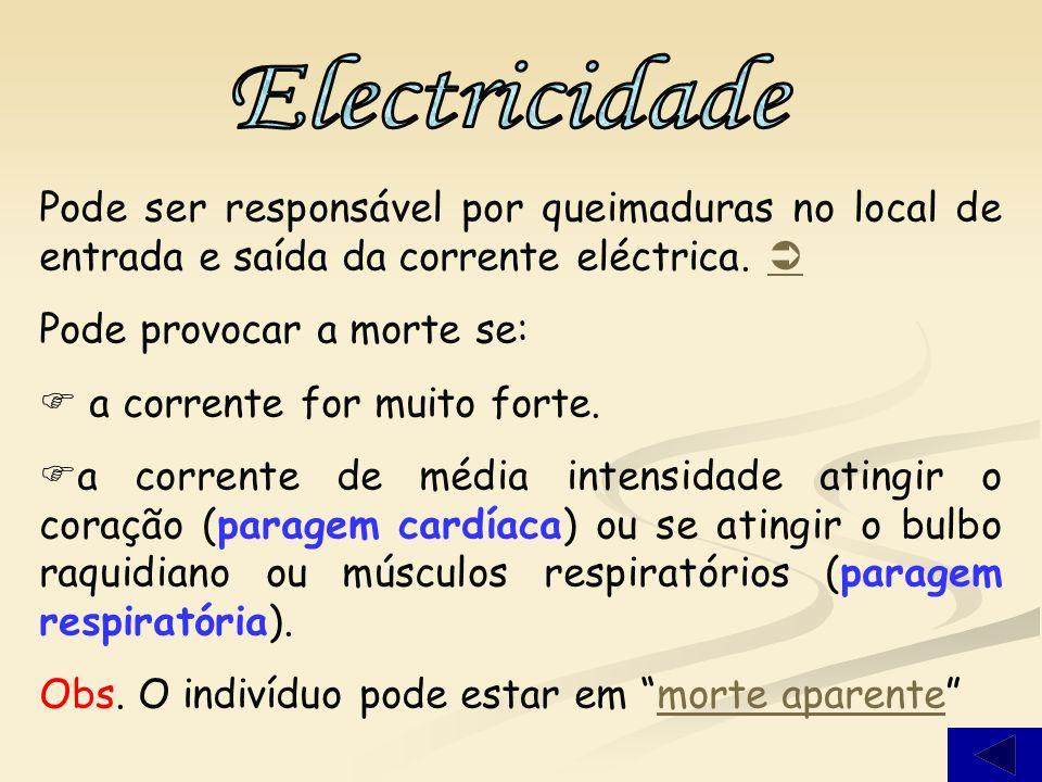 Electricidade Pode ser responsável por queimaduras no local de entrada e saída da corrente eléctrica. 