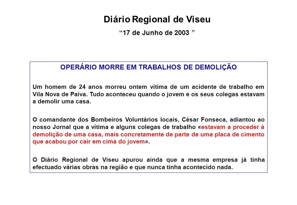 Diário Regional de Viseu OPERÁRIO MORRE EM TRABALHOS DE DEMOLIÇÃO