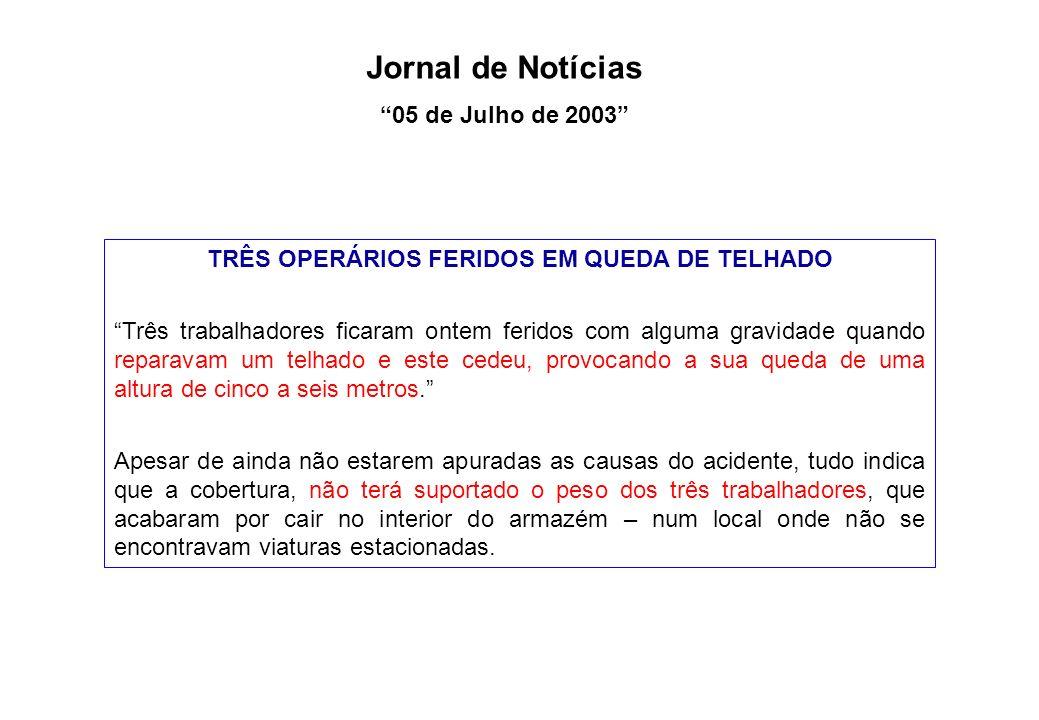 TRÊS OPERÁRIOS FERIDOS EM QUEDA DE TELHADO