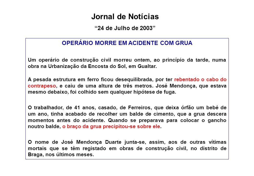 OPERÁRIO MORRE EM ACIDENTE COM GRUA