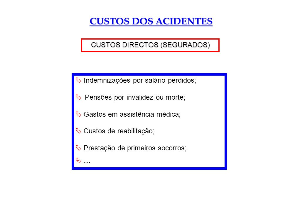 CUSTOS DIRECTOS (SEGURADOS)