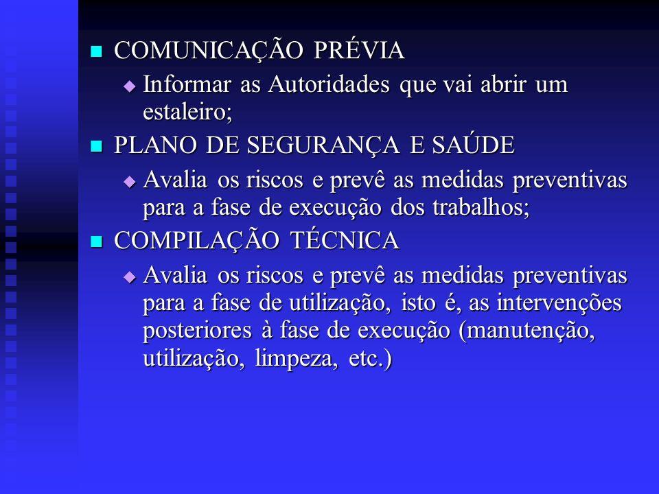 COMUNICAÇÃO PRÉVIA Informar as Autoridades que vai abrir um estaleiro; PLANO DE SEGURANÇA E SAÚDE.