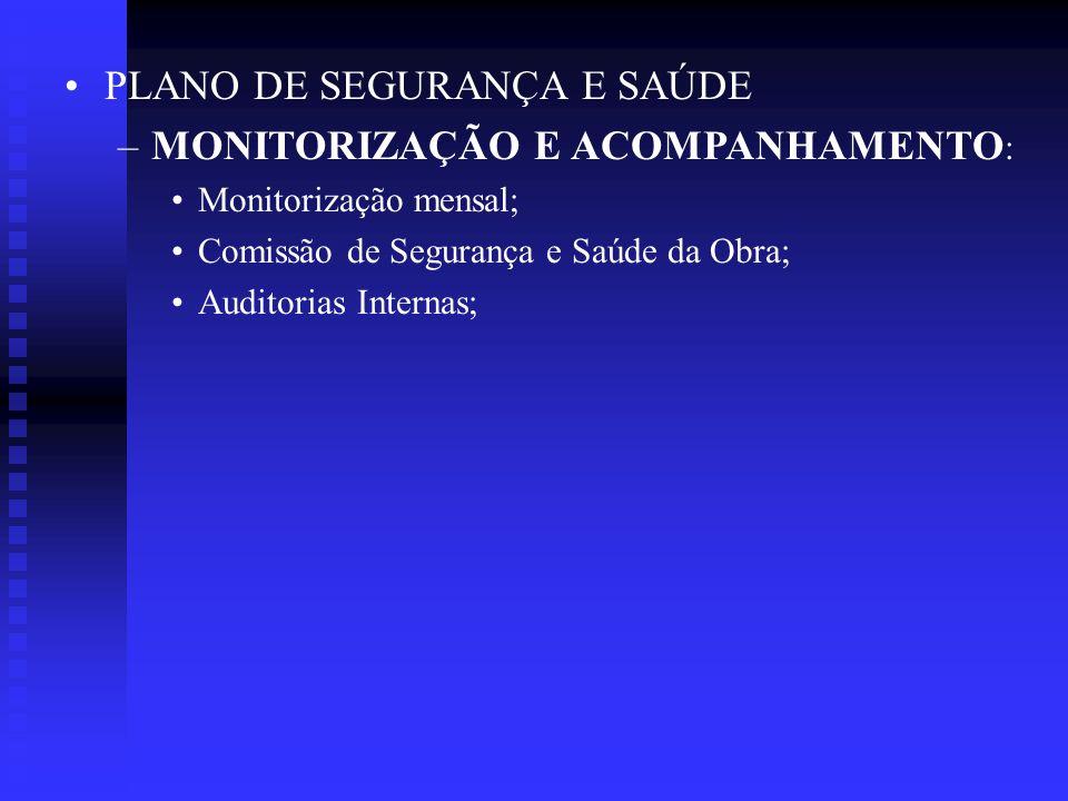 PLANO DE SEGURANÇA E SAÚDE MONITORIZAÇÃO E ACOMPANHAMENTO: