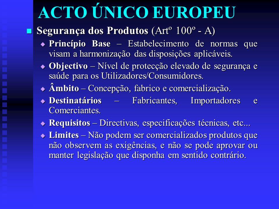 ACTO ÚNICO EUROPEU Segurança dos Produtos (Artº 100º - A)