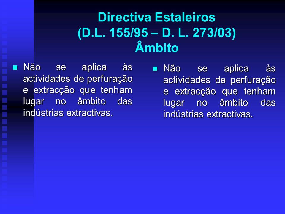 Directiva Estaleiros (D.L. 155/95 – D. L. 273/03) Âmbito