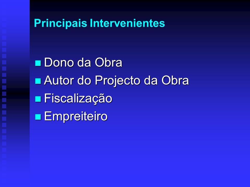 Principais Intervenientes