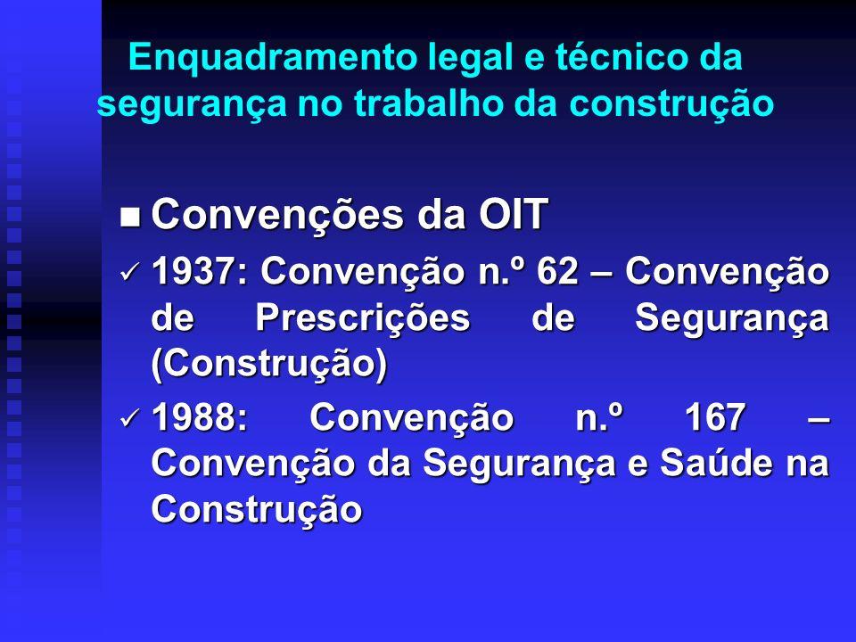 Enquadramento legal e técnico da segurança no trabalho da construção