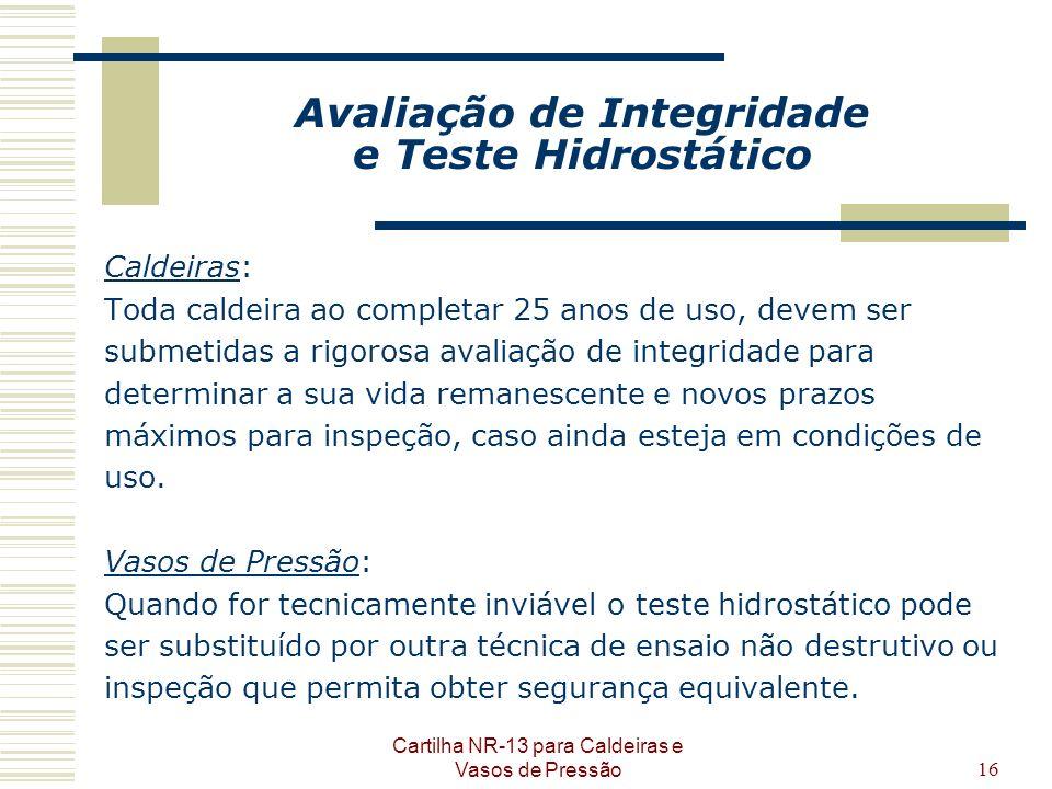 Avaliação de Integridade e Teste Hidrostático