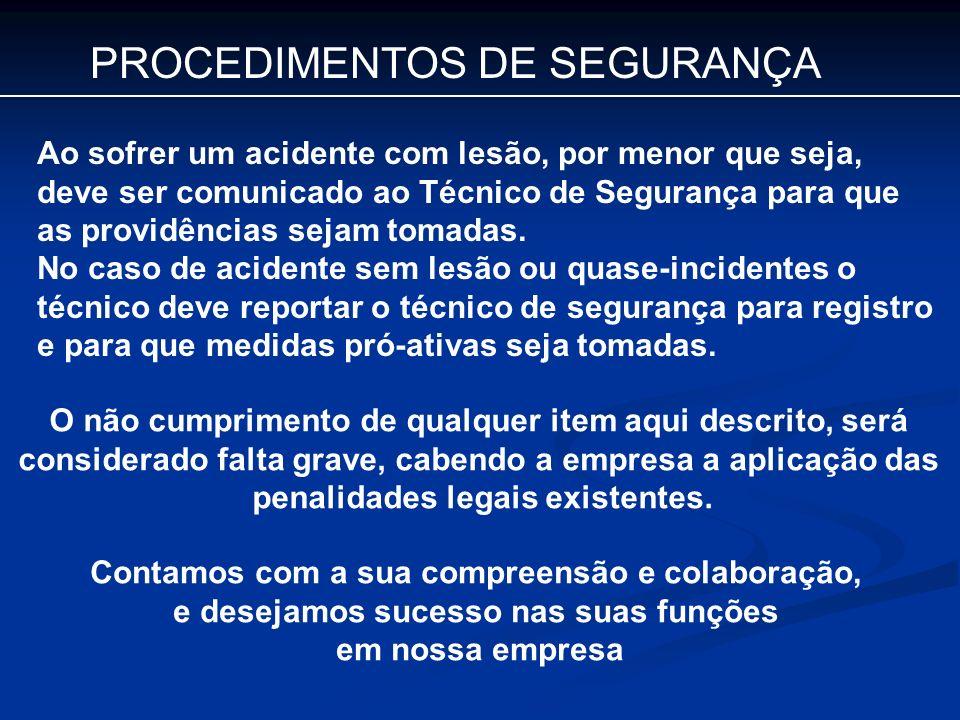 PROCEDIMENTOS DE SEGURANÇA
