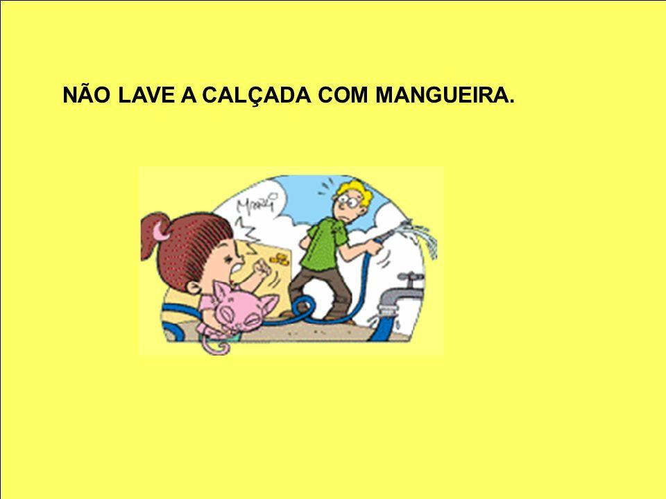 NÃO LAVE A CALÇADA COM MANGUEIRA.
