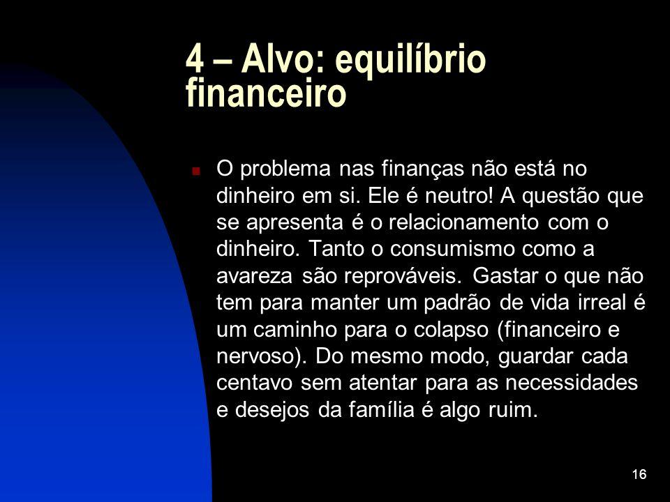 4 – Alvo: equilíbrio financeiro