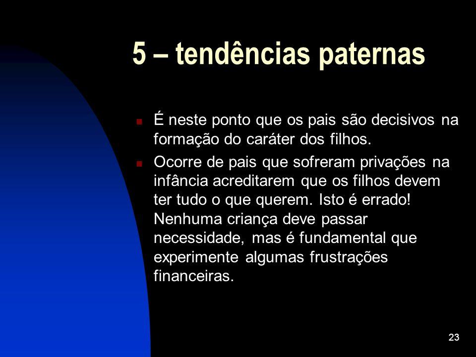 5 – tendências paternas É neste ponto que os pais são decisivos na formação do caráter dos filhos.