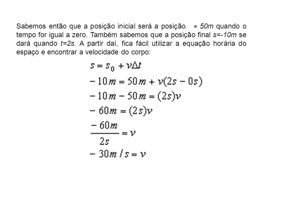 Sabemos então que a posição inicial será a posição = 50m quando o tempo for igual a zero.