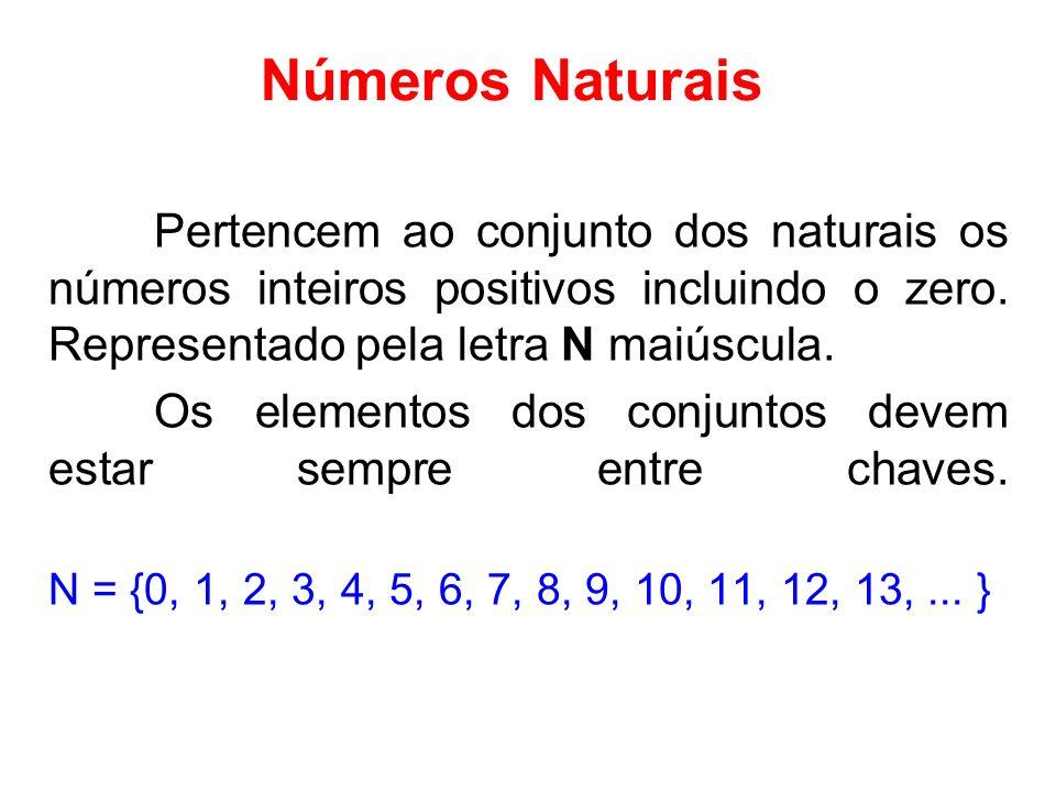 Números NaturaisPertencem ao conjunto dos naturais os números inteiros positivos incluindo o zero. Representado pela letra N maiúscula.