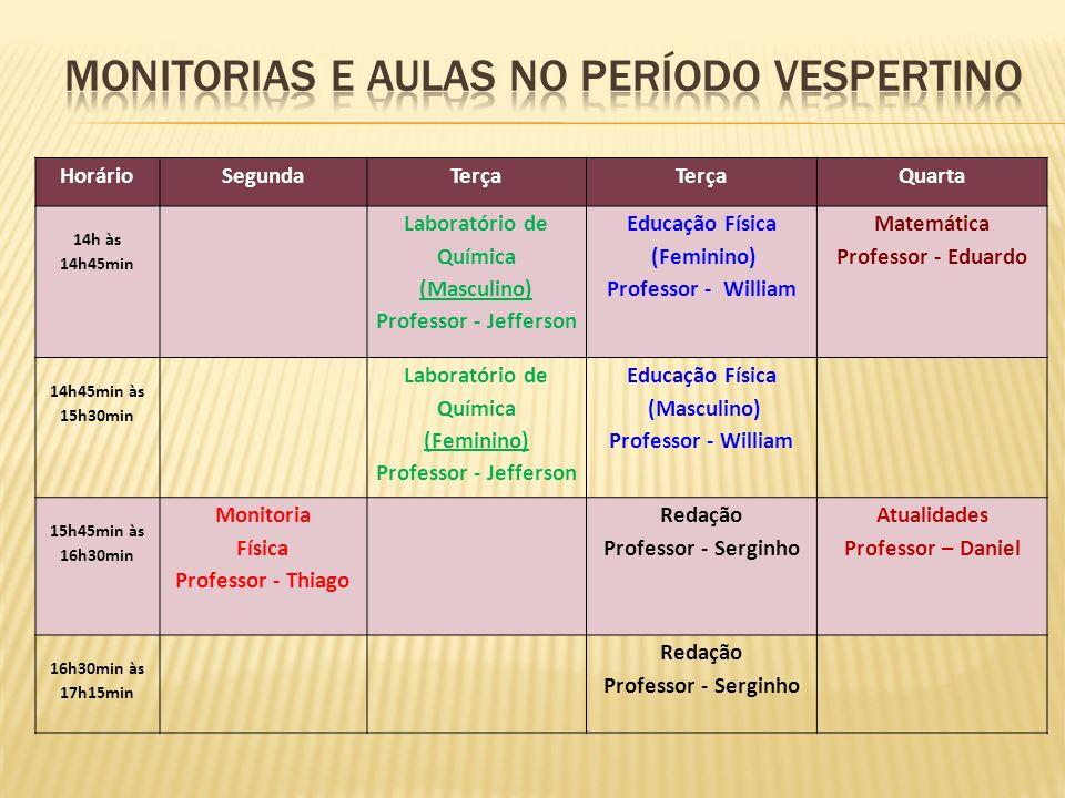 MONITORIAS E AULAS NO PERÍODO VESPERTINO