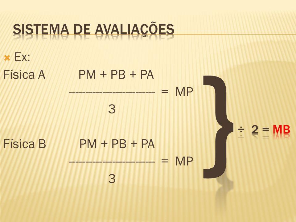 } Sistema de avaliações Ex: Física A PM + PB + PA