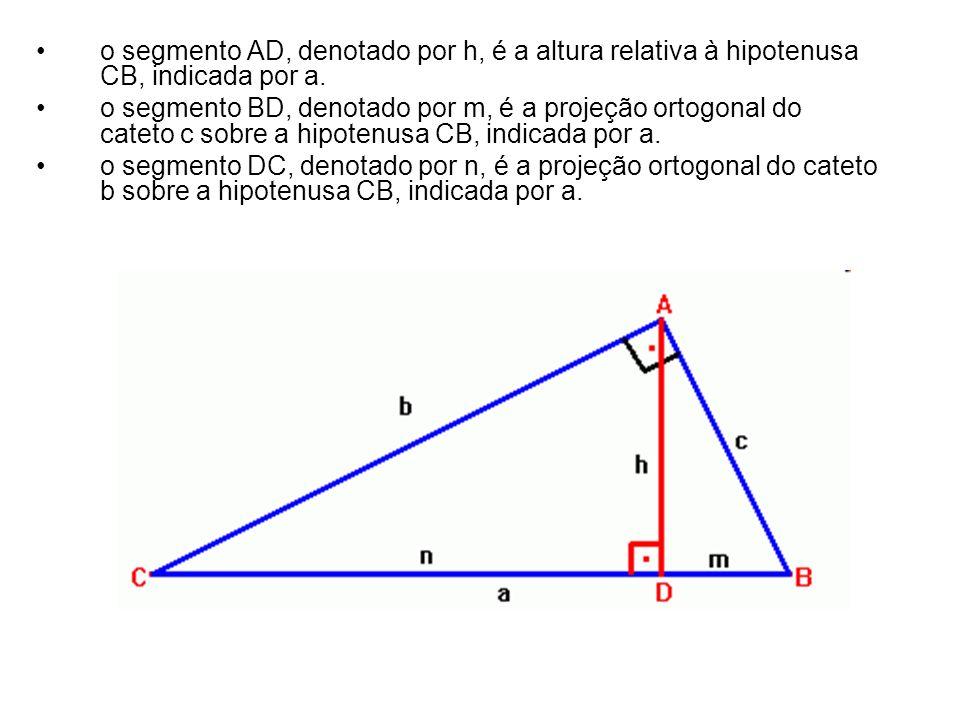 o segmento AD, denotado por h, é a altura relativa à hipotenusa CB, indicada por a.