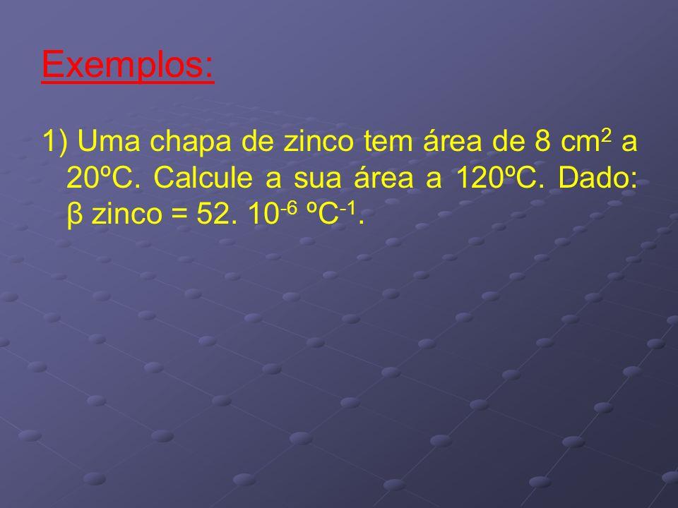 Exemplos: 1) Uma chapa de zinco tem área de 8 cm2 a 20ºC.