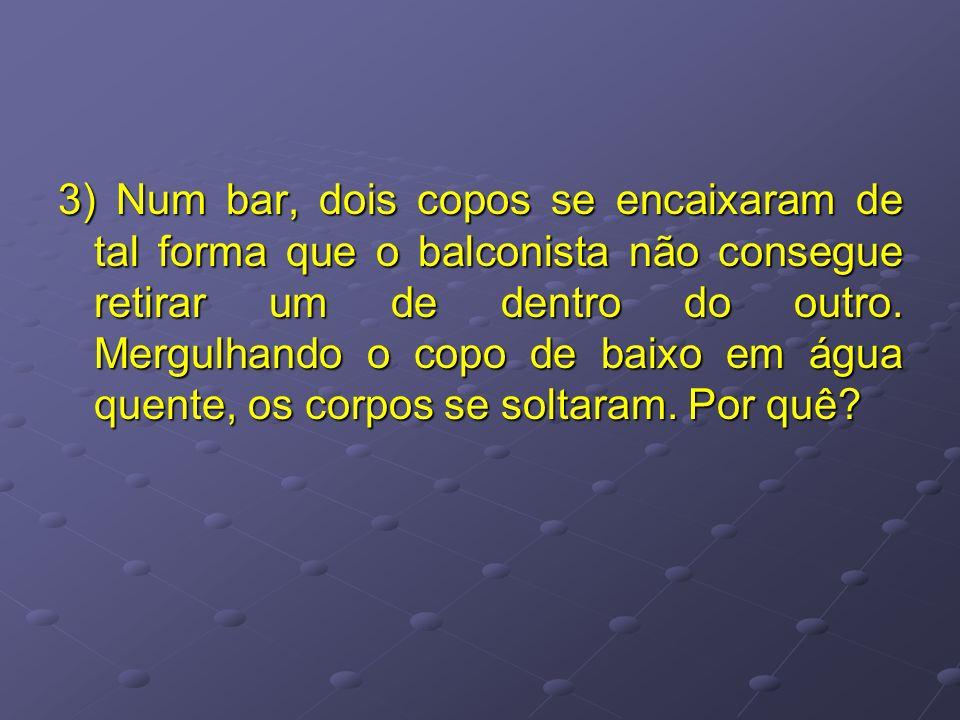 3) Num bar, dois copos se encaixaram de tal forma que o balconista não consegue retirar um de dentro do outro.