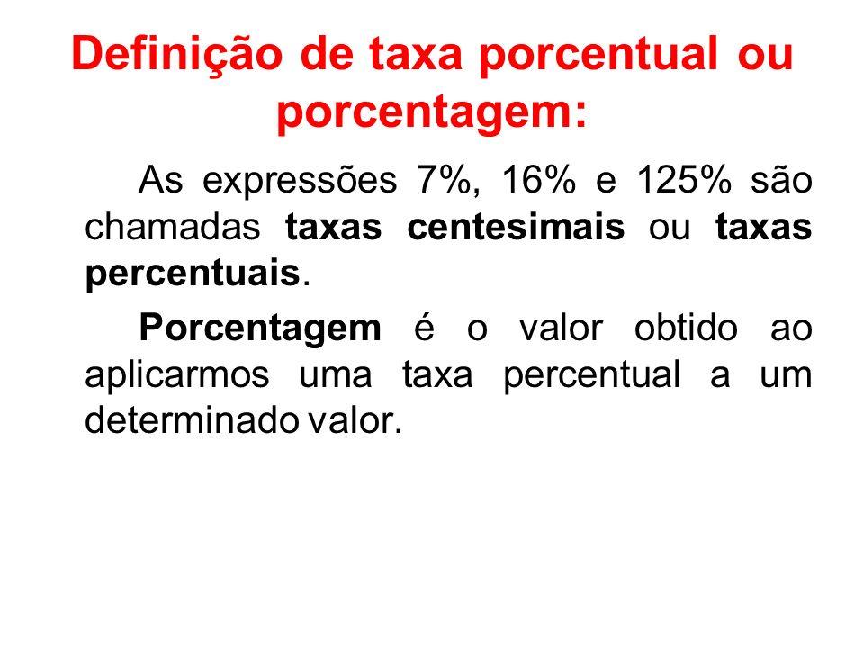Definição de taxa porcentual ou porcentagem: