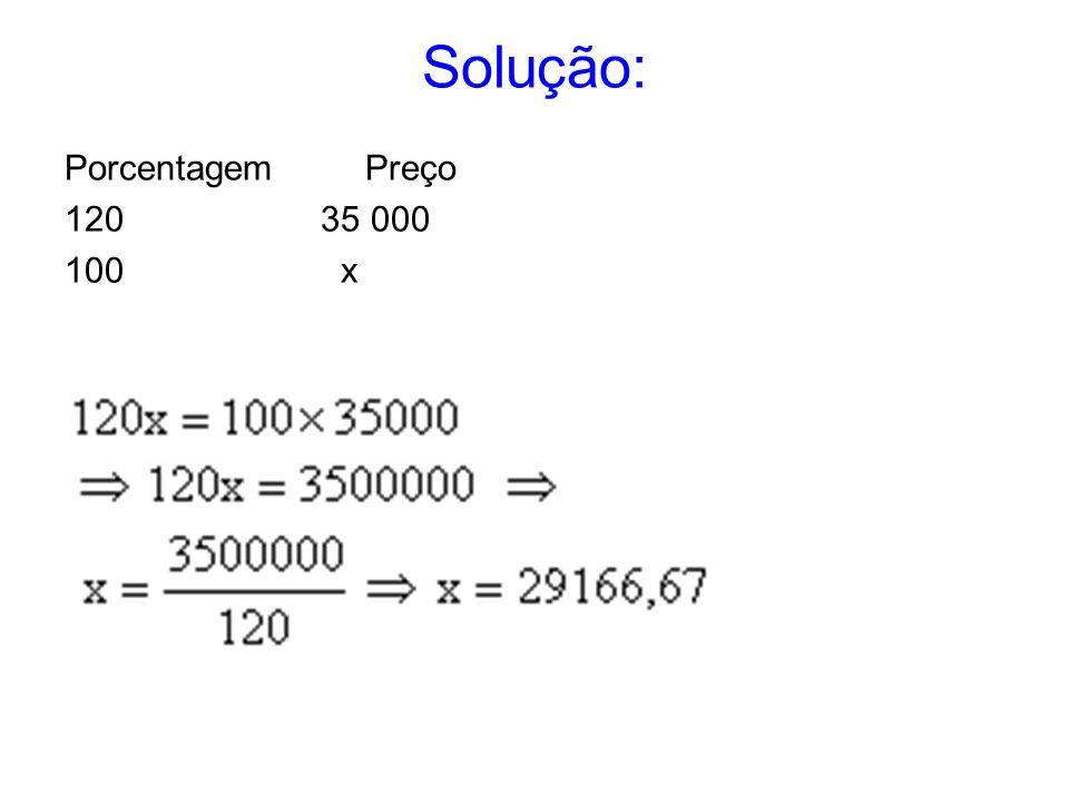Solução: Porcentagem Preço 120 35 000 100 x