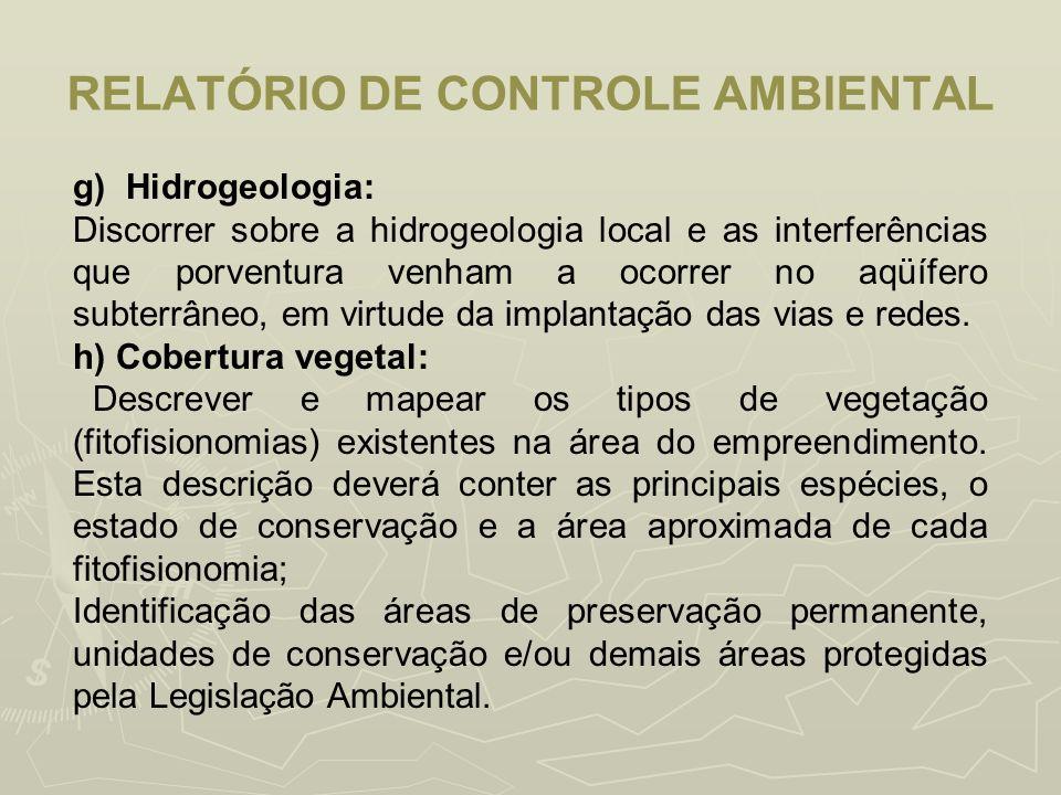 RELATÓRIO DE CONTROLE AMBIENTAL