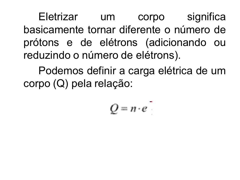 Eletrizar um corpo significa basicamente tornar diferente o número de prótons e de elétrons (adicionando ou reduzindo o número de elétrons).