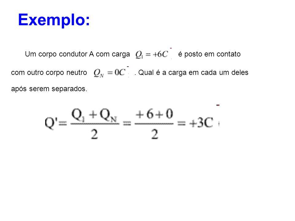 Exemplo: Um corpo condutor A com carga é posto em contato