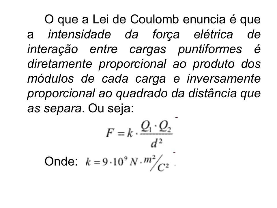 O que a Lei de Coulomb enuncia é que a intensidade da força elétrica de interação entre cargas puntiformes é diretamente proporcional ao produto dos módulos de cada carga e inversamente proporcional ao quadrado da distância que as separa. Ou seja: