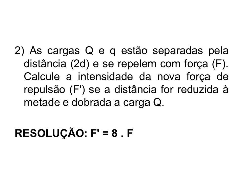 2) As cargas Q e q estão separadas pela distância (2d) e se repelem com força (F). Calcule a intensidade da nova força de repulsão (F ) se a distância for reduzida à metade e dobrada a carga Q.